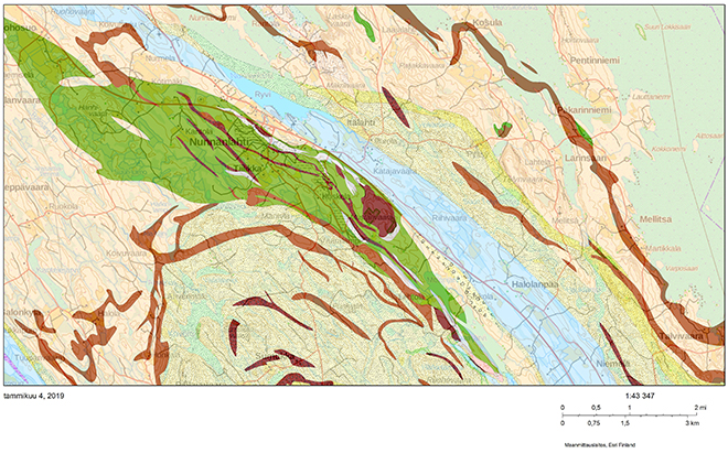 The light areas in the map show the several soapstone massifs in the greenstone belt in Nunnanlahti.